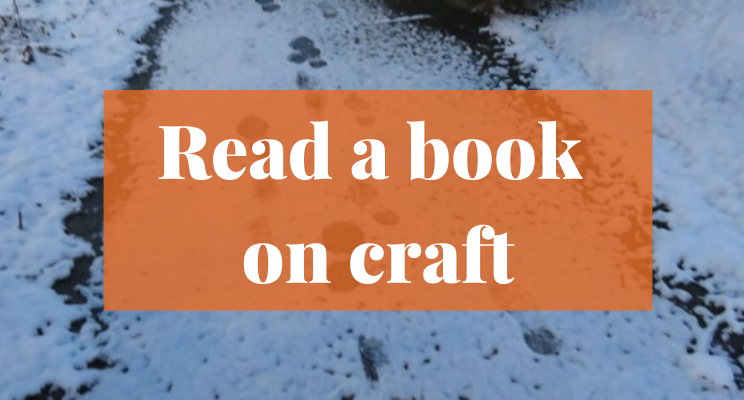 Snow on the sidewalk with footprints. Text says: Read a book on craft