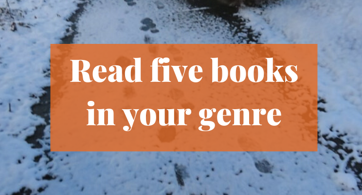 Snow on the sidewalk with footprints. Text says: Read five books in your genre