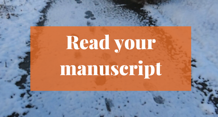 Snow on the sidewalk with footprints. Text says: Read your manuscript