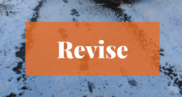 Snow on the sidewalk with footprints. Text says: Revise