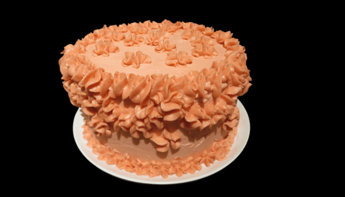 A picture of an over-decorated cake.