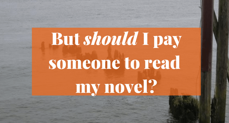 Picture of logs sticking out of water. Text says: But should I pay someone to read my novel?