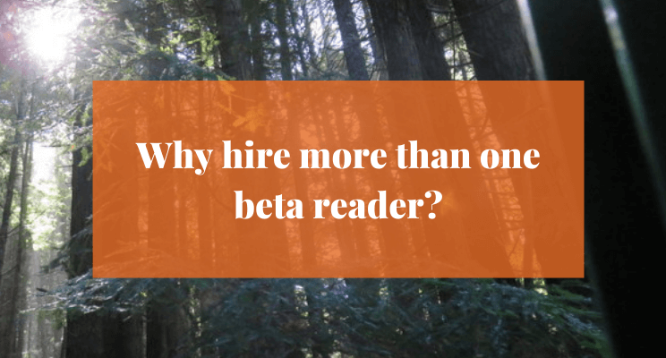 Sunlight streaming through tall trees. Text: Why hire more than one beta reader?