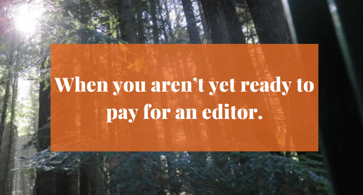 Sunlight streaming through tall trees. Text: When you aren't yet ready to pay for an editor.