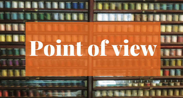 Spools of sewing thread. Text: Point of view